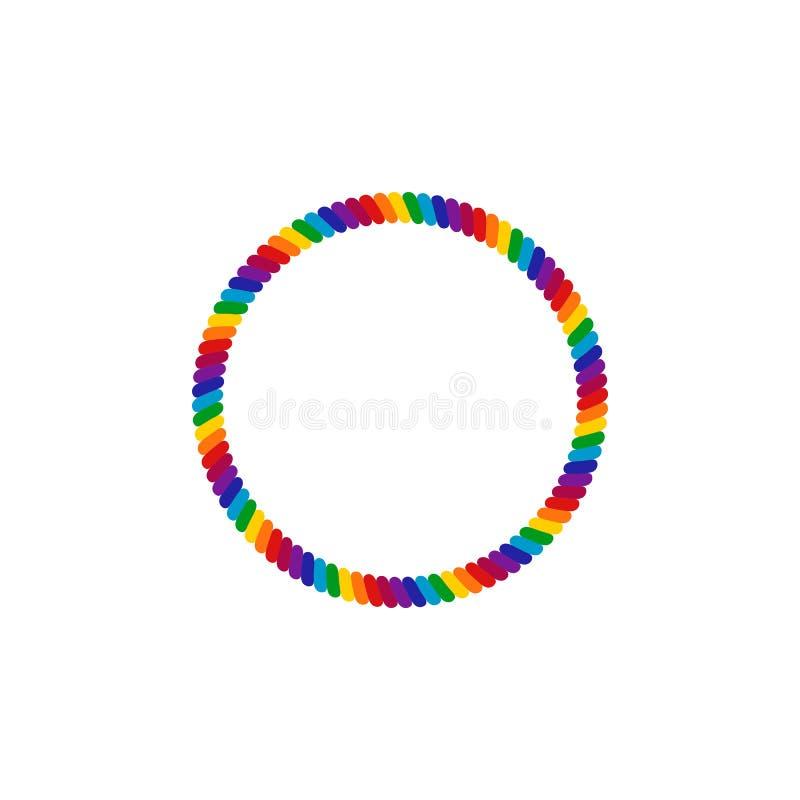 Einzigartiger Regenbogen farbiges Seil LGBT Pride Frame Border Design Element stock abbildung