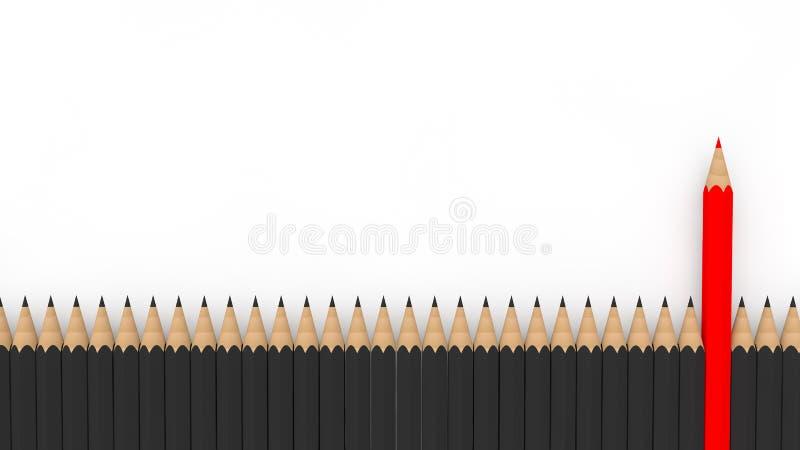 einzigartiger roter Bleistift 3d unter vielen schwarzen vektor abbildung