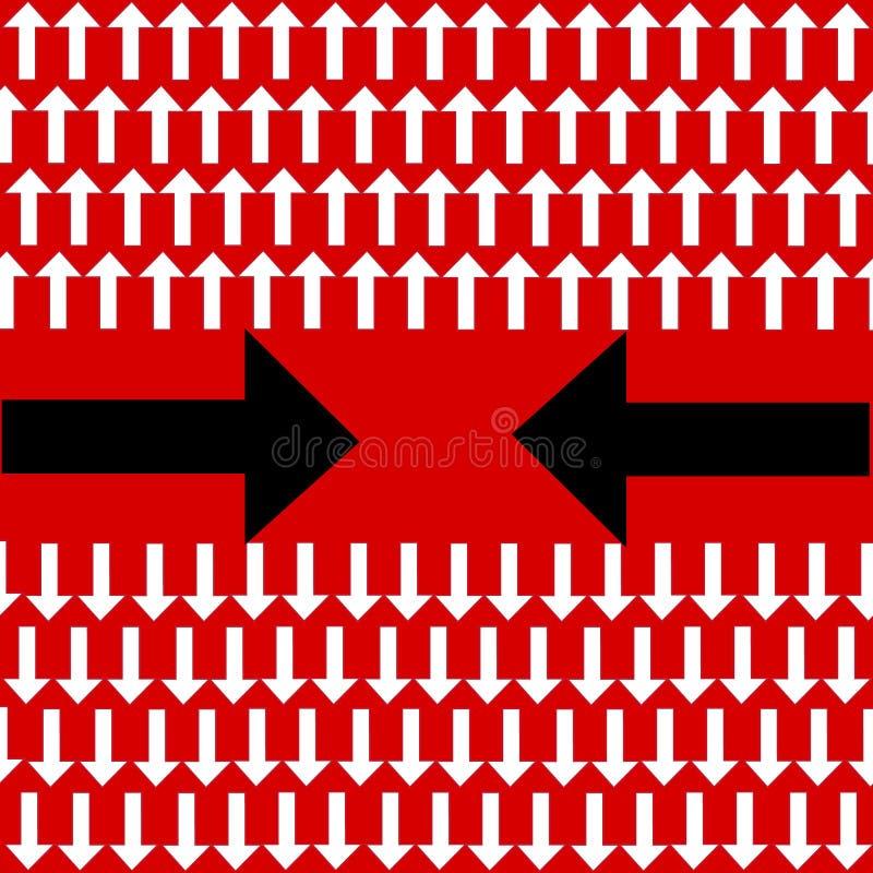 Einzigartiger verbiegender schwarzer Pfeil eine andere Richtung und viele wei?en geraden auf rotem Hintergrund stock abbildung