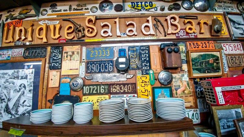 Einzigartiges Café-Restaurant-Salatbar in Boscobel, WI lizenzfreies stockfoto