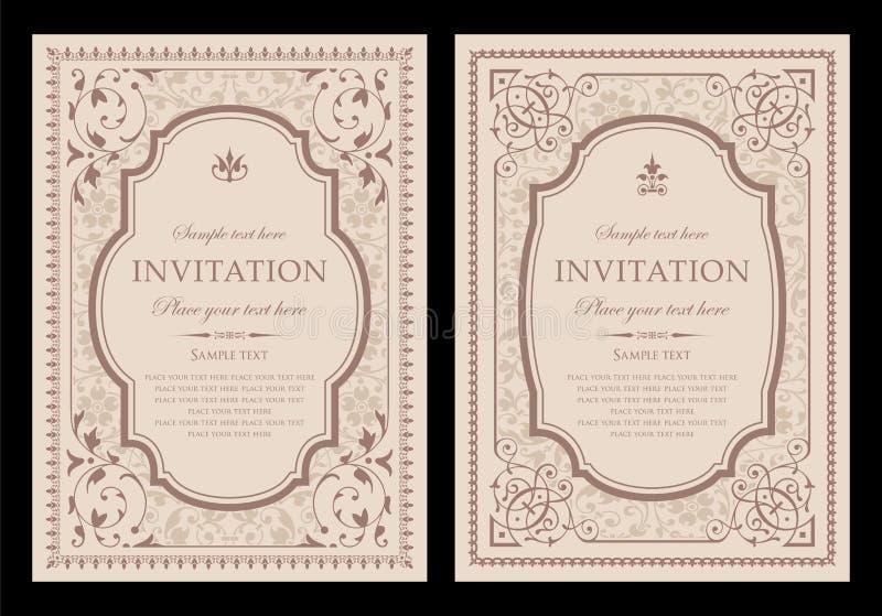 Einzigartiges Design der Einladungskarte - Weinleseart vektor abbildung