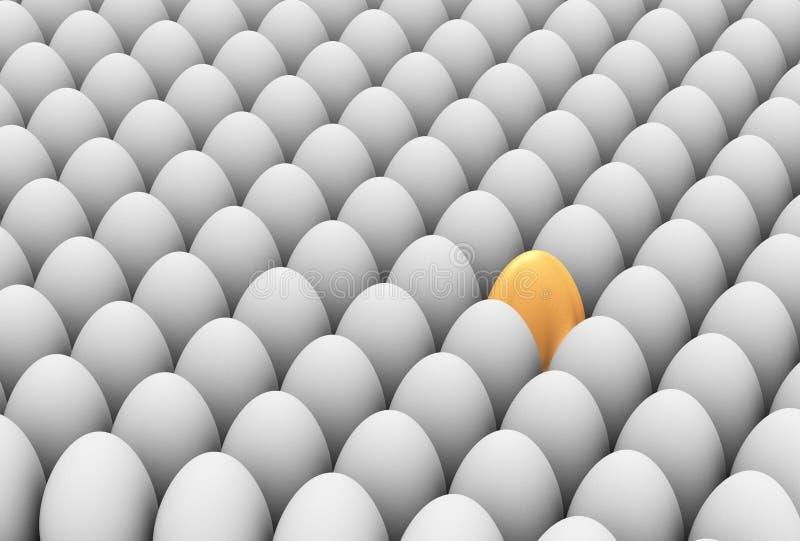 einzigartiges goldenes Ei 3d stock abbildung