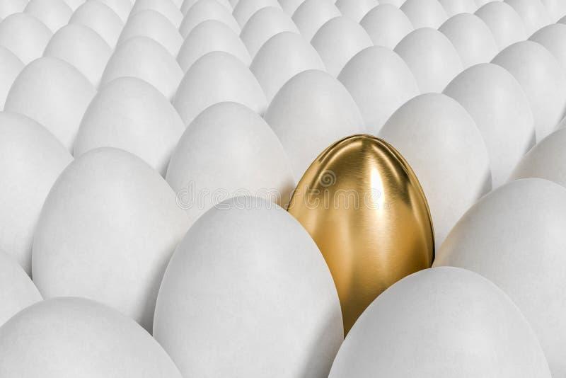 Einzigartiges goldenes Ei und viele weißen Eier 3D übertrug Abbildung stock abbildung