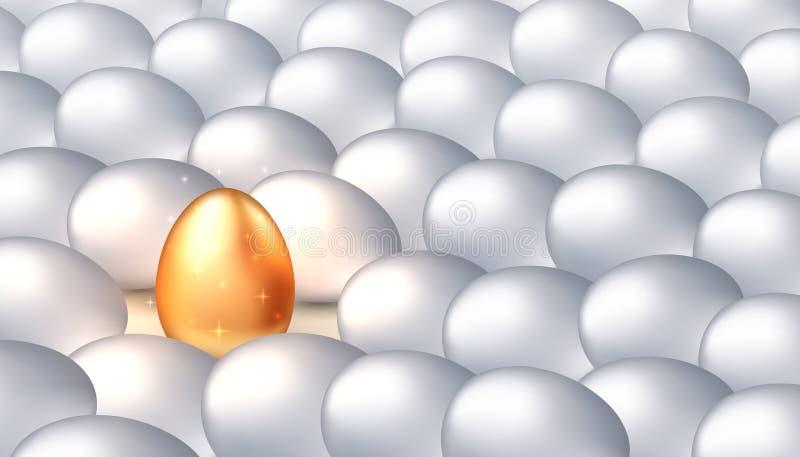 Einzigartiges goldenes Ei unter gewöhnlichen weißen Eiern, das Konzept von Exklusivität, Erfolg Helle Individualität, erfolgreich lizenzfreie abbildung