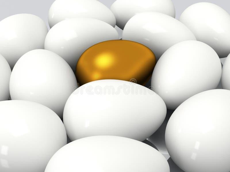 Einzigartiges goldenes Ei unter weißen Eiern vektor abbildung