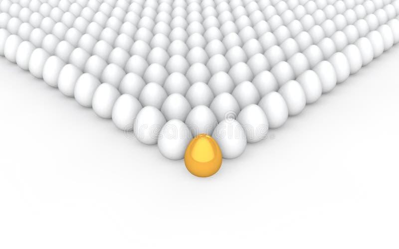 einzigartiges goldenes Konzept des Eies 3d vektor abbildung