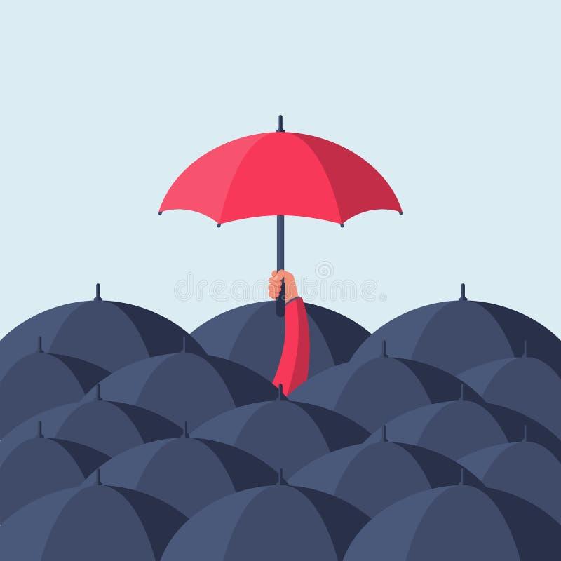 Einzigartigkeits-und Individualität Mann, der einen roten Regenschirmvektor hält stock abbildung