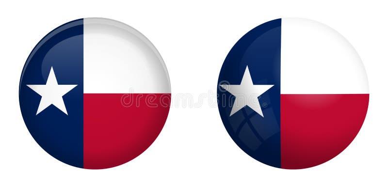 Einzige Sternflagge Texas unter Knopf der Haube 3d und auf glattem Bereich/Ball lizenzfreie abbildung