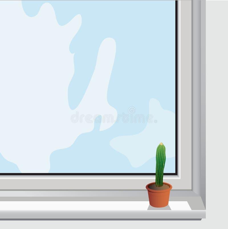 Einziger Kaktus EPS10 im Fenster stock abbildung