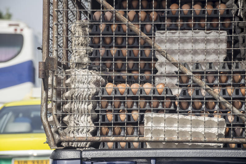 Eipallets op vrachtwagen Vervoer van landbouw stock fotografie