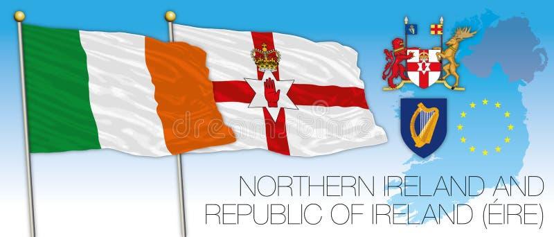 Eire och norr Irland flaggor, översikt och skyddsremsor, vektorillustration stock illustrationer