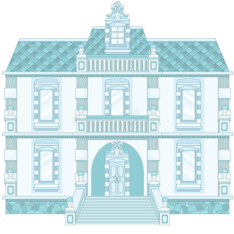 Eis-Blau-magischer alter Palast stock abbildung