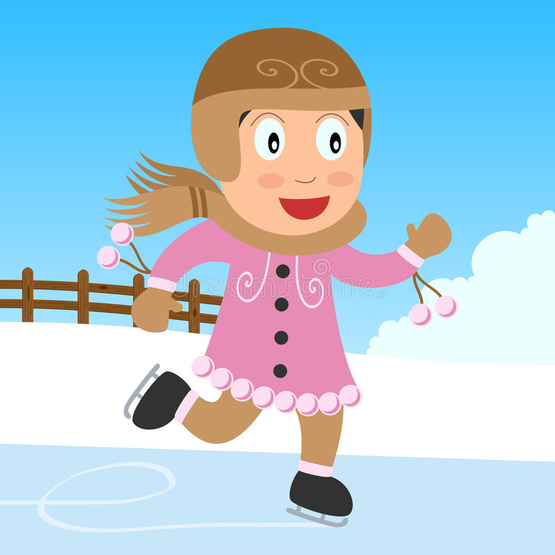 Eis-Eislauf-Mädchen im Park stock abbildung