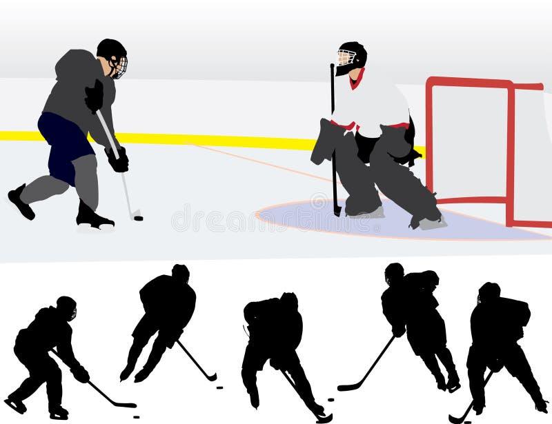 Eis-Hockey-Schattenbilder stock abbildung
