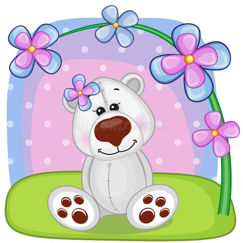 Eisbär mit Blumen lizenzfreie abbildung