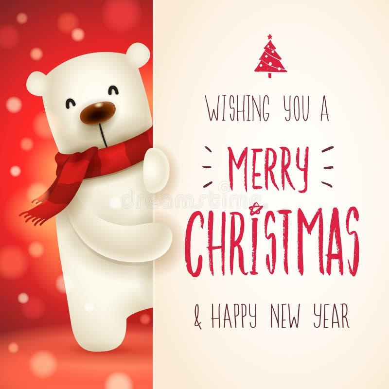 Eisbär mit großem Schild Kalligraphie-Briefgestaltung der frohen Weihnachten stock abbildung