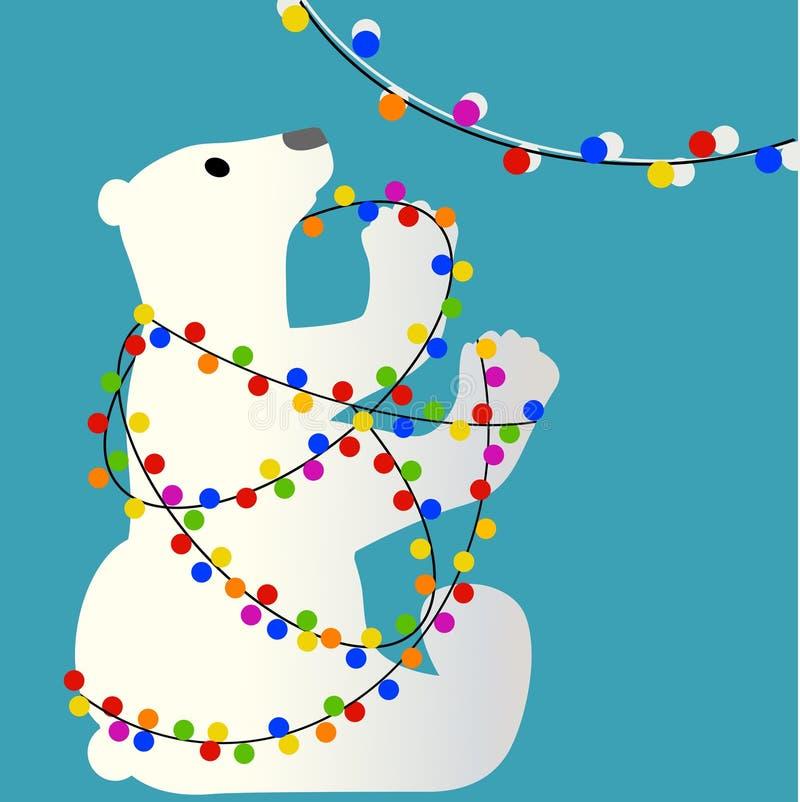 Eisbär verwickelt in den Weihnachtsglühlampen lizenzfreie abbildung