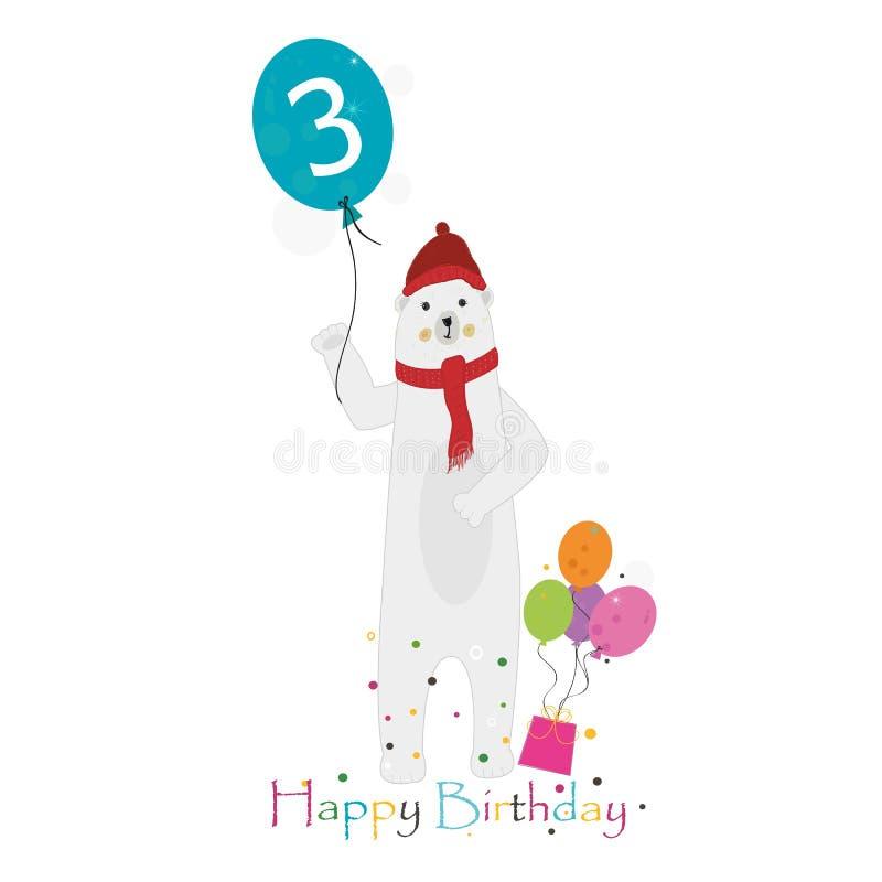 Eisbärholdingballon drei drittens Alles Gute zum Geburtstaggrußkarte stock abbildung