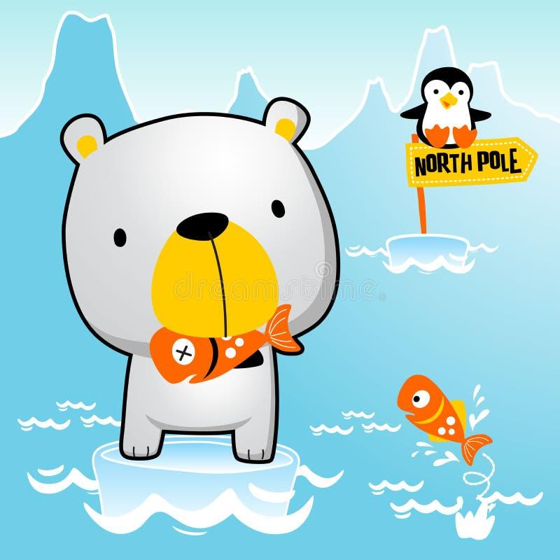 Eisbärkarikatur mit wenigem Pinguin lizenzfreie abbildung