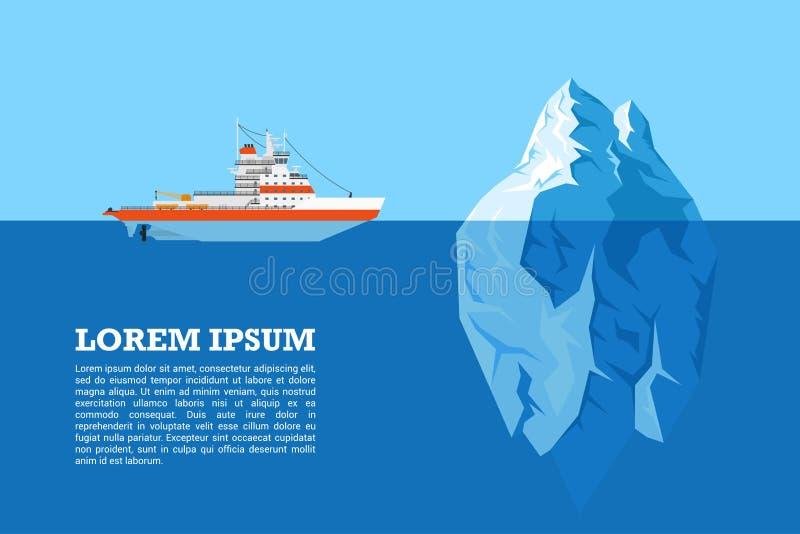 Eisberg und Schiff lizenzfreie abbildung