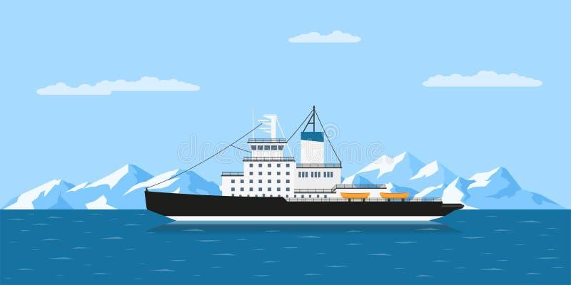 Eisberge und Schiff lizenzfreie abbildung