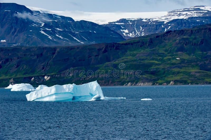 Eisberge vor Küste mit Gletscher im greenlandic Sommer, Grönland lizenzfreies stockbild
