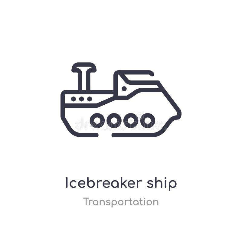 Eisbrecherschiffs-Entwurfsikone lokalisierte Linie Vektorillustration von der Transportsammlung editable Haarstricheisbrecher stock abbildung