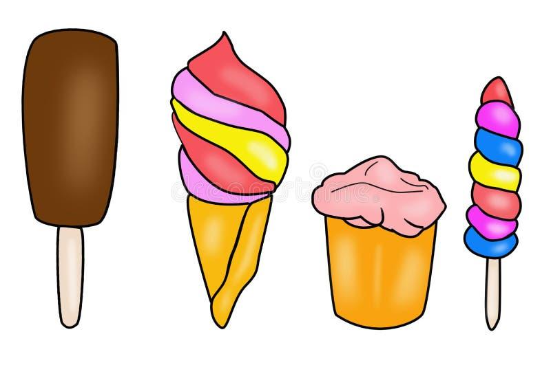 Eiscreme die Sammlung, die auf einem weißen Hintergrund lokalisiert wird lizenzfreie abbildung