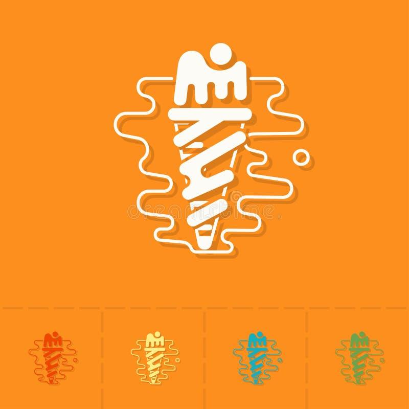 Eiscreme in einem Kegel mit einer Kirsche stock abbildung
