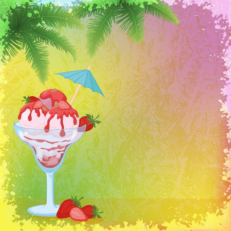 Eiscreme, Erdbeeren und Palmen-Niederlassungen vektor abbildung