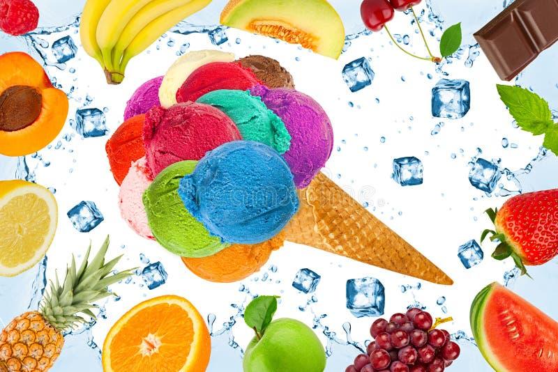 Eiscreme-Fruchtkonzept lizenzfreie abbildung