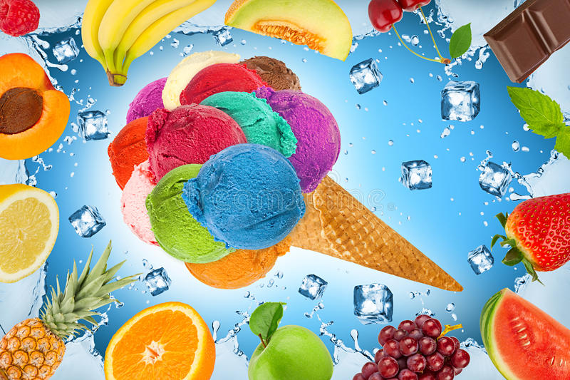 Eiscreme-Fruchtkonzept lizenzfreies stockfoto