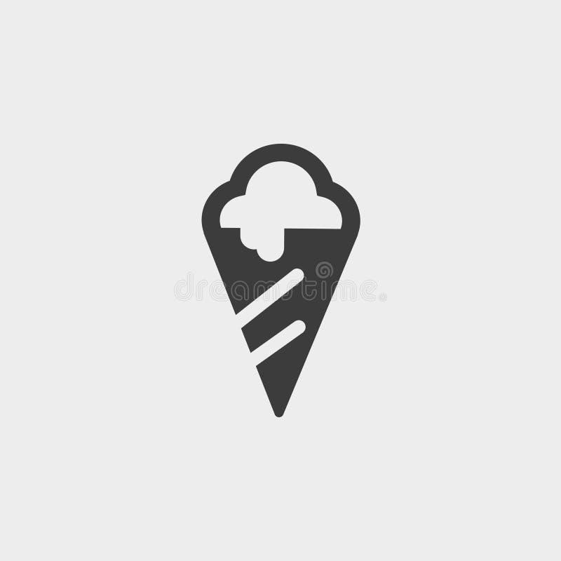 Eiscreme Ikone in einem flachen Design in der schwarzen Farbe Vektorabbildung EPS10 lizenzfreie abbildung