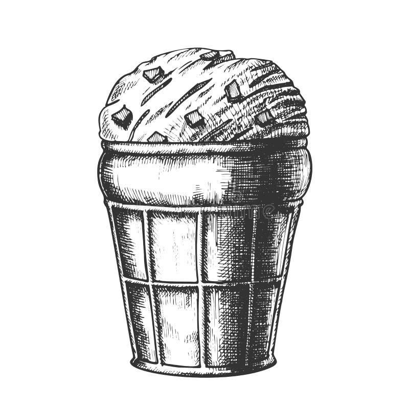 Eiscreme im Waffel-Kegel mit Karamell-Tinten-Vektor lizenzfreie abbildung