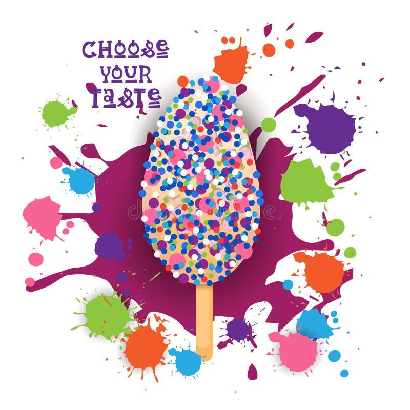 Eiscreme Lolly Colorful Dessert Icon Choose Ihr Geschmack-Café-Plakat lizenzfreie abbildung
