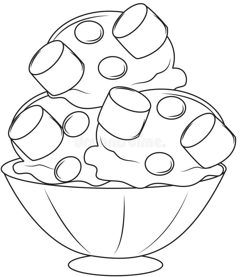Eiscreme mit den Eibischen, die Seite färben lizenzfreie abbildung