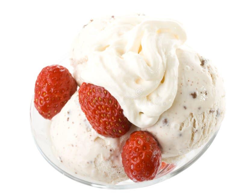 Eiscreme Mit Erdbeeren Stockbild