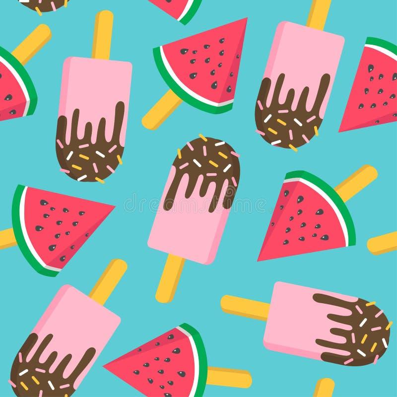 Eiscreme mit nahtlosem Muster der Wassermelone stock abbildung