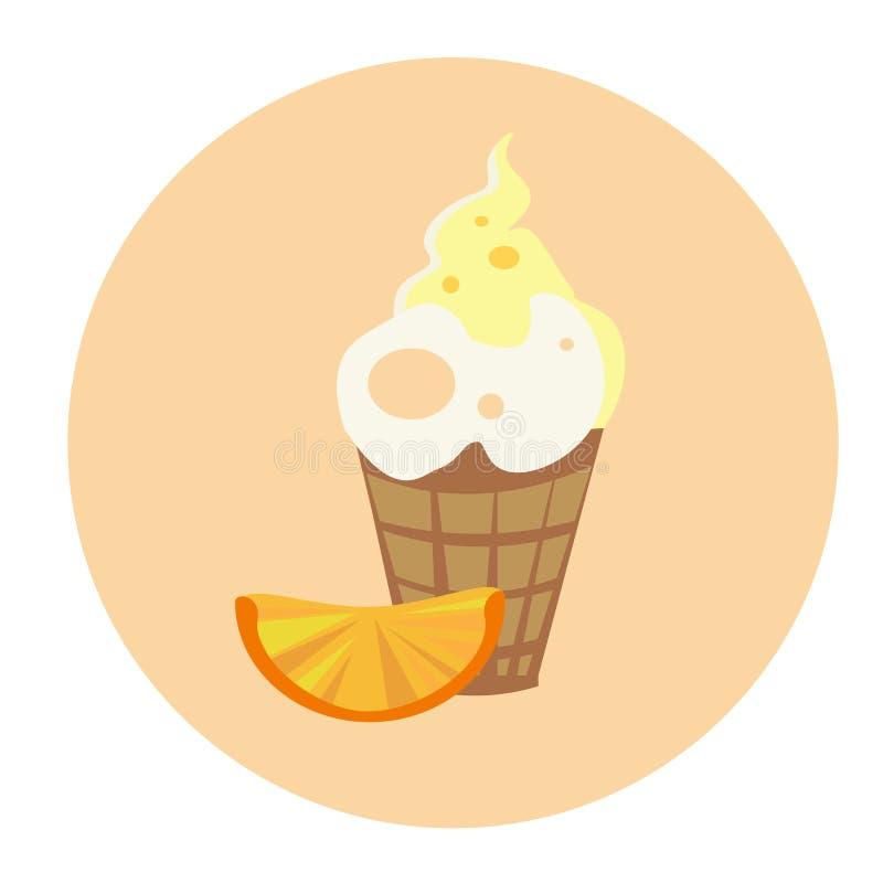 Eiscreme mit orange bunter Nachtisch-flachem Design vektor abbildung