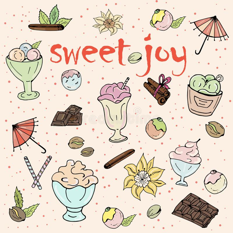 Eiscreme, Nachtisch, Schokolade auf weißem Hintergrund vektor abbildung