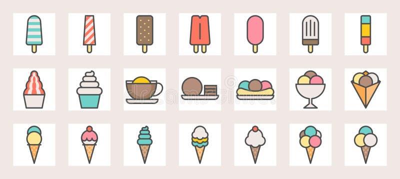 Eiscreme, Softeis, Eisrasur, Schaufel im Krepp und Eis am Stiel füllten Farblinieikonen lizenzfreie abbildung