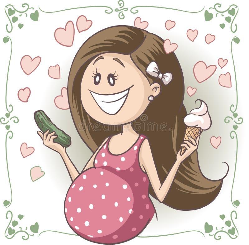 Eiscreme-und Essiggurken-Vektor-Karikatur des schwangere Frauen-heftigen Verlangens lizenzfreie abbildung