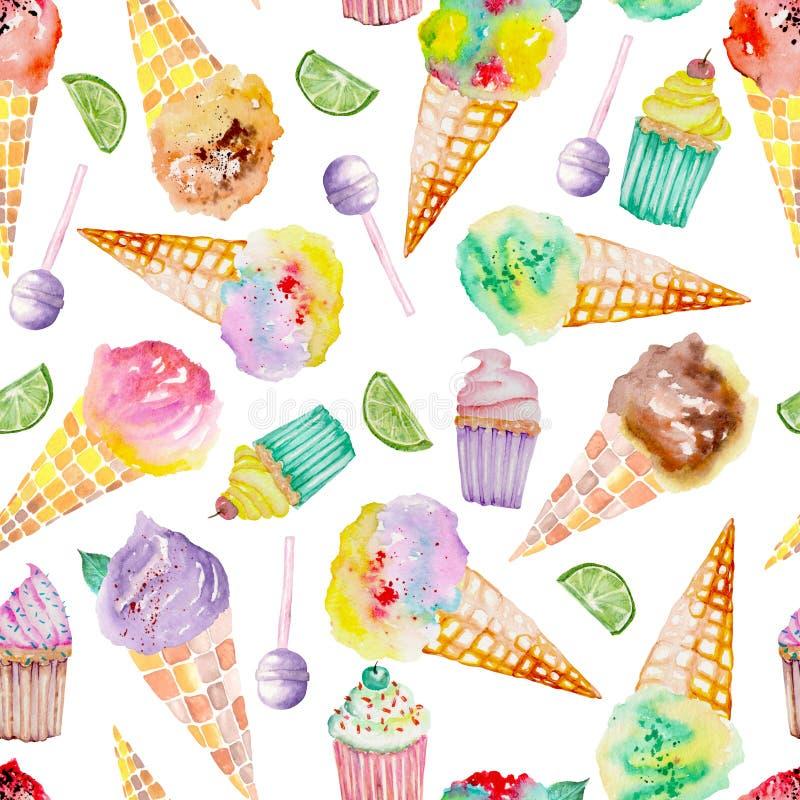 Eiscreme- und Konfektionsartikelmuster auf einem weißen Hintergrund lizenzfreie abbildung