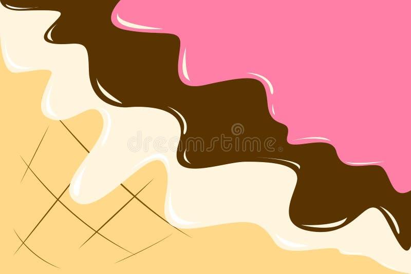 Eiscreme-Waffelkegelbeeren-, -schokoladen- und -vanillebelagsvektorillustration stock abbildung