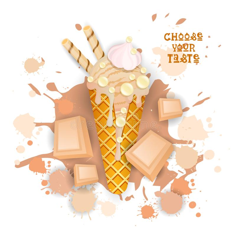 Eiscreme-weißer Schokoladen-Kegel-wählen bunte Nachtisch-Ikone Ihr Geschmack-Café-Plakat stock abbildung