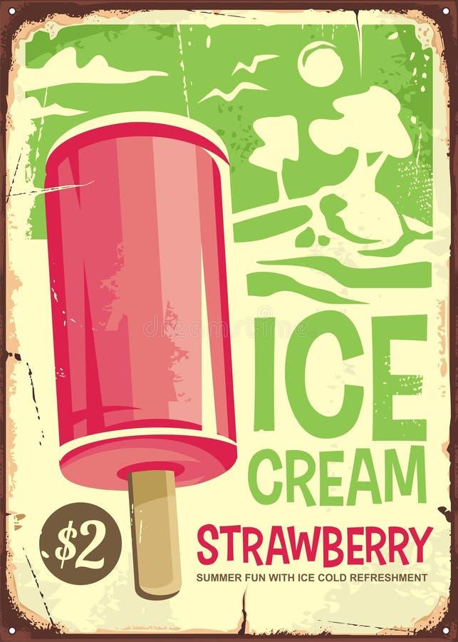 Eiscreme-Weinleseanzeigendesign lizenzfreie abbildung