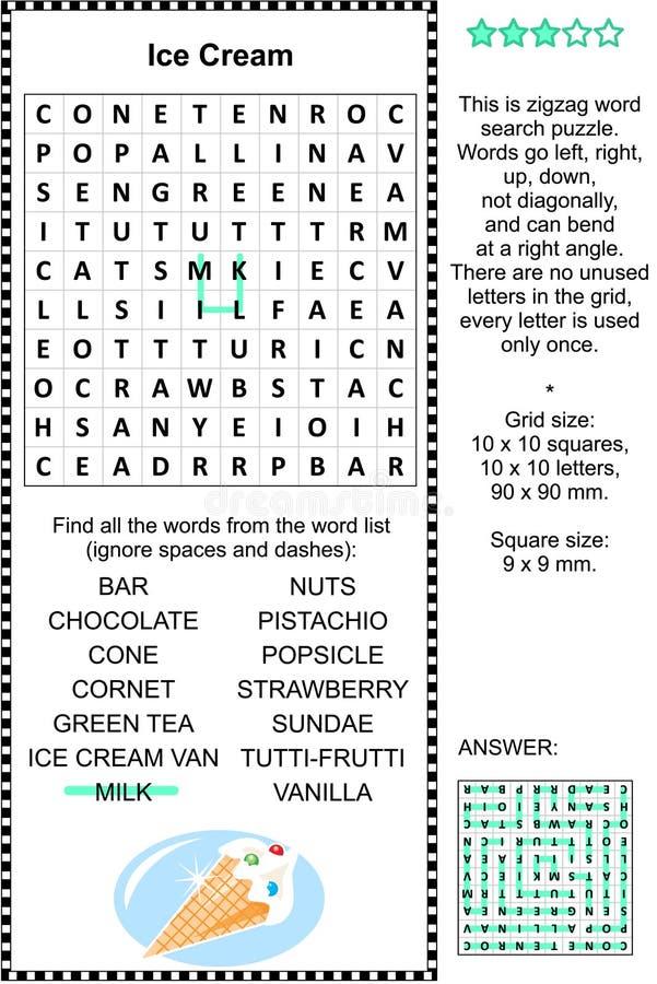 Eiscreme wordsearch Puzzlespiel vektor abbildung