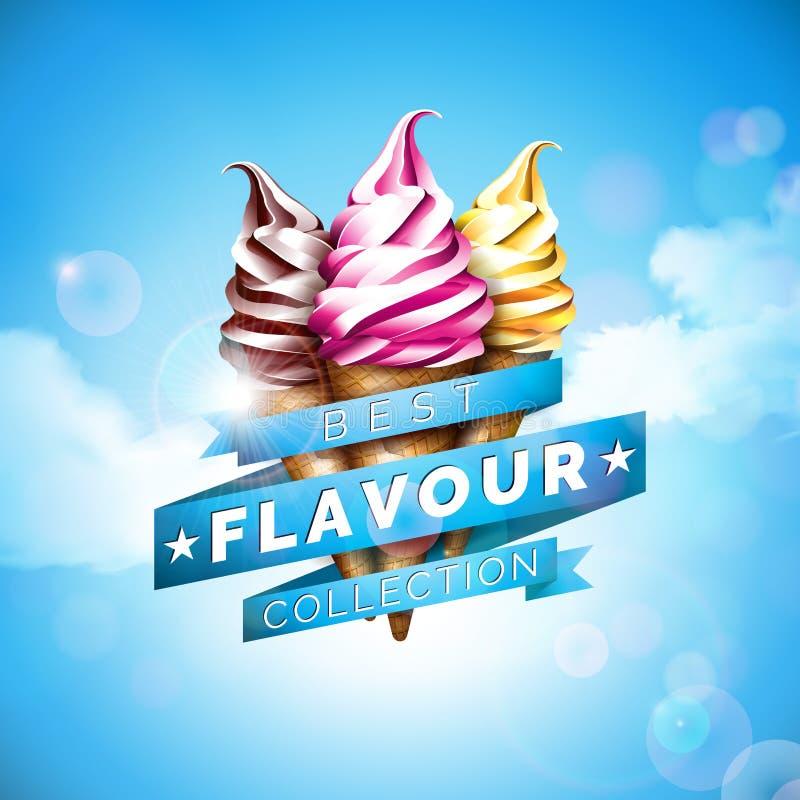 Eiscremeillustration mit köstlichem Nachtisch und beschriftetes Band auf Hintergrund des blauen Himmels Vektordesignschablone für lizenzfreie abbildung