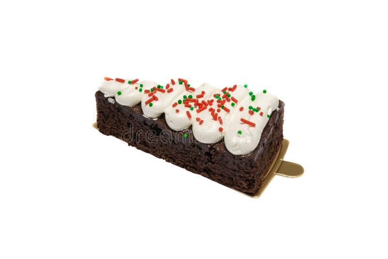 Eiscremekuchen mit der schwarzen Johannisbeere und Schokolade lokalisiert auf weißem Hintergrund lizenzfreies stockbild