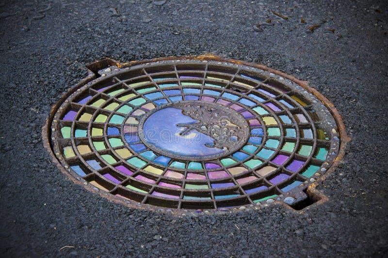 Eisen warf Einsteigelöcher in einem Asphalt, der mit farbigem Öl pflastert lizenzfreie stockbilder